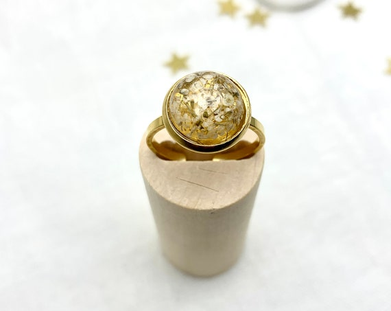 Real Flowers Ring Resin Gold Stainless Steel adjustable