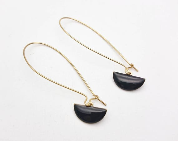 Long Gold and Black Geometric Pendants Earrings semi circle//Enamel black dangle earrings gold steel kidney earwires//Modern Black Dangle