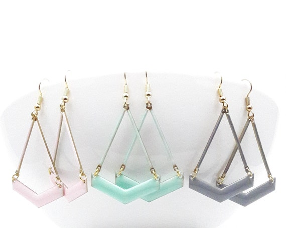 Pastel Mint Pink Gray Enamel Chevron earrings with Gold color steel hooks //Hypoallergenic V Triangle arrow earrings
