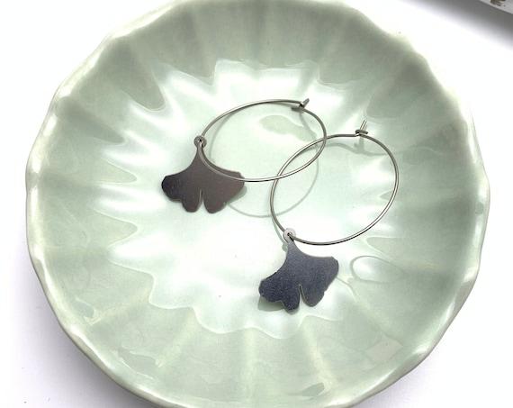 Silver Hoops Earrings GINKGO stainless steel