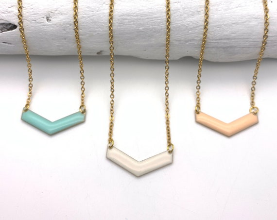 Chevron Pastel Necklace gold tone stainless steel chain color enamel pendant