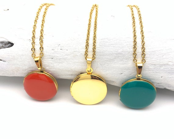LAST BRASS Photo Locket Necklace Round Enamel Pendant and gold color surgical steel chain