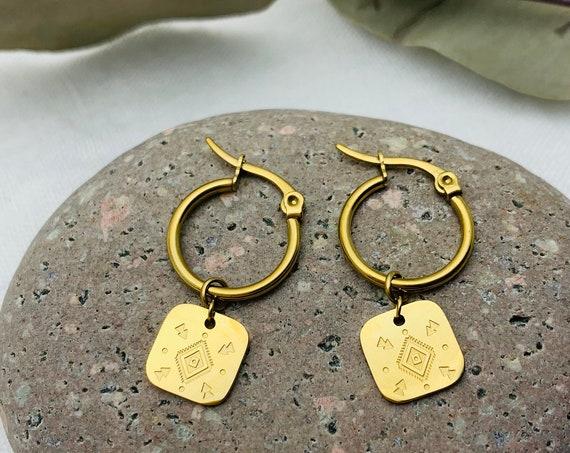 Tribal Earrings Boho Hoops 14k gold plated stainless steel
