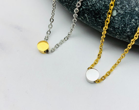 Necklace Silver tiny round dot bead charm silver/gold plated stainless steel 5 mm