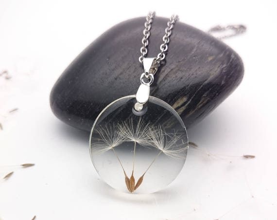 Dandelion Necklace Round real flower seeds resin pendant and silver steel chain