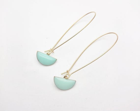 Long Gold Pastel mint Geometric Pendants Earrings semi circle//Enamel mint dangle earrings gold steel kidney earwires//Modern Mint Dangle