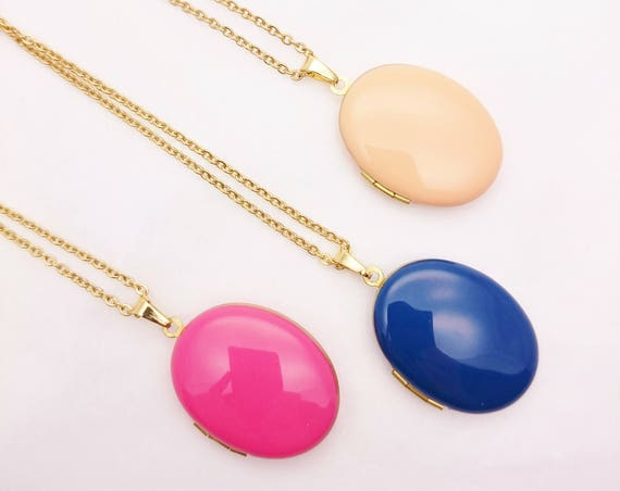 Oval Photo Locket Enamel Necklace with Long gold color surgical steel chain