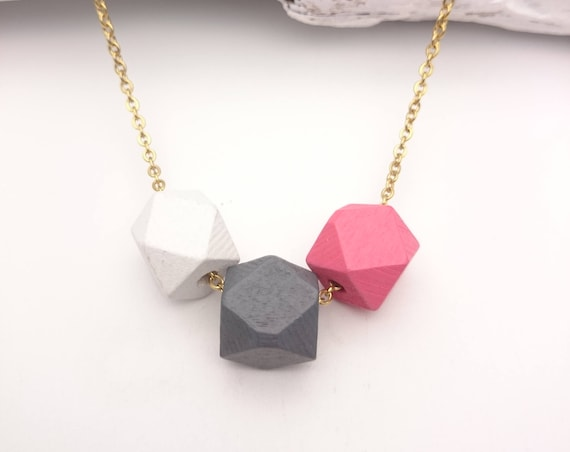 Small geometric wood necklace//Wood painted faceted beads 12mm gold steel chain//Little hexagon wood necklace hypoallergenic White Gray Pink