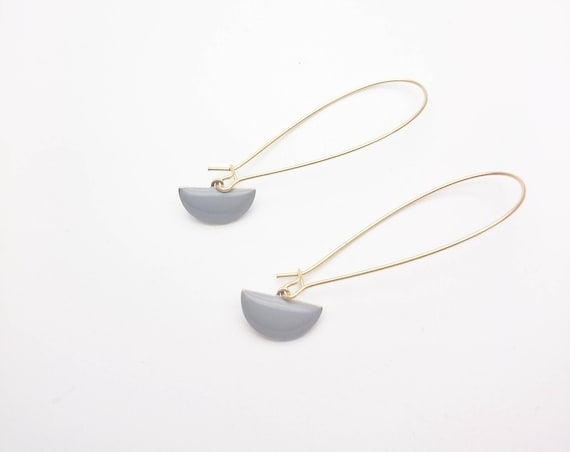 Long Gold Gray Geometric Earrings Semi circle enamel pendants dangles gold color steel kidney earwires