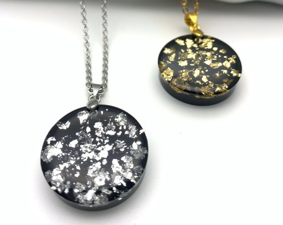 Round Black resin necklace stainless steel chain, gold foil flakes or silver foil flakes