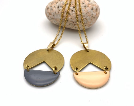 Necklace Brass Enamel Gold Geometric with long stainless steel chain, peach or grey color to choose
