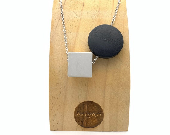 Concrete and Wood Necklace with silver stainless steel chain necklace, grey cube and black round pendants