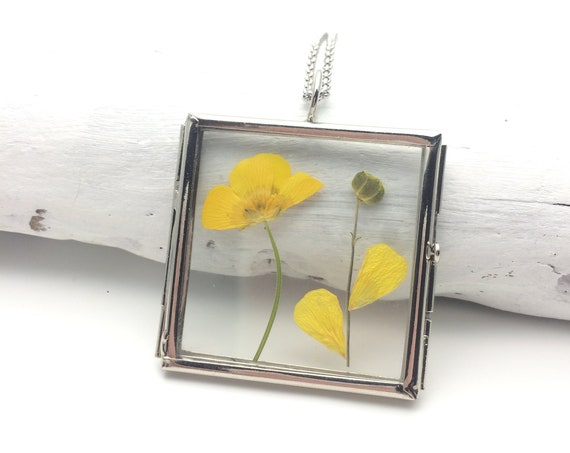 Handmade Silver Flower Locket Square, Glass Pendant frame with Yellow Real Dry Pressed Wild Flowers and stainless steel chain