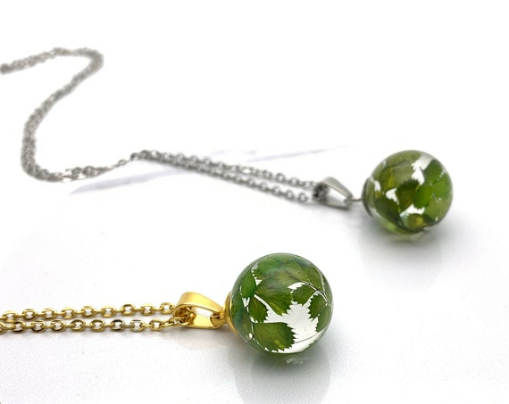 Leaves ball Necklace resin and silver or gold steel chain, botanical, terrarium