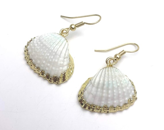 Gold White Scallop sea shell Earrings gold dipped 24k plated edges