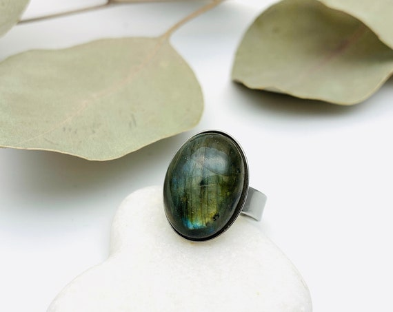 Ring Oval Labradorite Gem and silver steel adjustable hypoallergenic