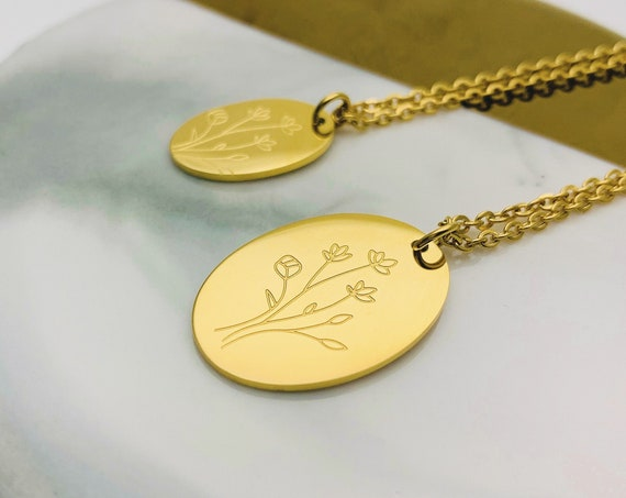Gold Necklace Oval Medal Flower Bouquet Oval 24k gold plated stainless steel / Mother & Daughter necklace