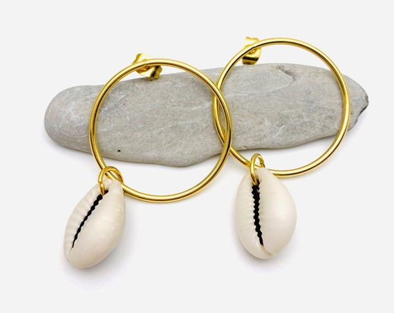 Large gold Hoops Cowries Earrings, natural sea shell and hoops 18k on stainless steel