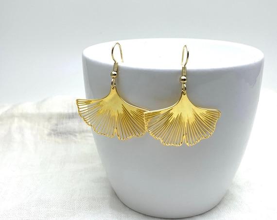 Gold Ginkgo Leaf Earrings 24k gold plated on brass