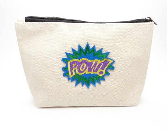 Cotton Pouch Cartoon Pow cotton canvas zip bag