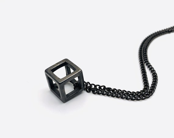 Cube Necklace black plated stainless steel