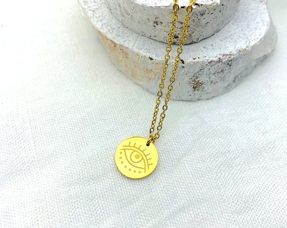 Necklace Gold Round Medal Eye 18k gold plated stainless steel