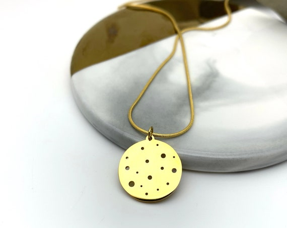 Gold Round Medal Necklace Cosmic Planets 18k gold plated stainless steel