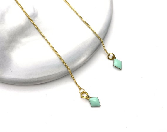 Threader chain earrings gold tone Stainless Steel diamond green pastel mint