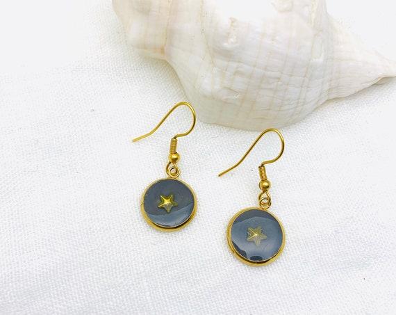 Star Earrings Gold Drop Resin Stainless Steel