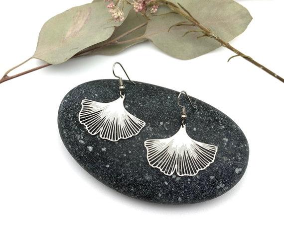 Steel Ginkgo Leaf Earrings
