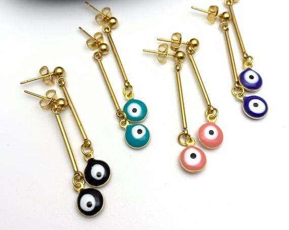 Earrings Evil Eye Long Color Enamel Gold Stainless Steel