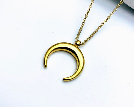 Gold Crescent Moon Necklace gold tone stainless steel