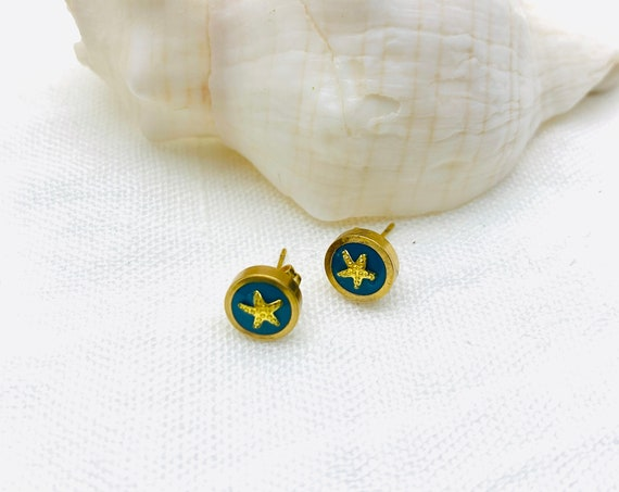 Star Earrings gold resin stainless steel round studs