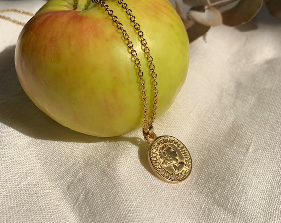 Gold Coin Necklace, Round Medallion Charm,  gold plated color stainless steel