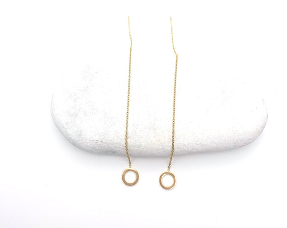 Threader chain earrings gold tone Stainless Steel stick and circle