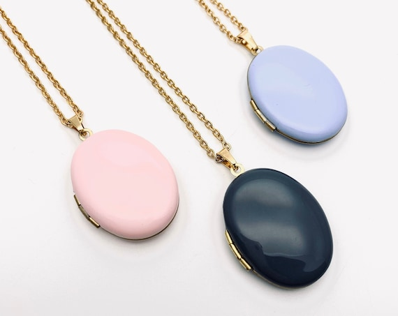 Oval Photo Locket Enamel Necklace with Long gold surgical steel chain soft pink dark grey lavender blue