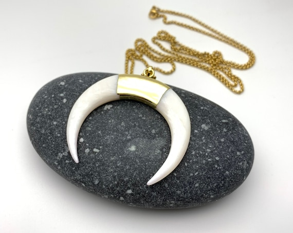 Necklace Large Gold Crescent White Shell gold dipped 24k plated pendant and stainless steel chain