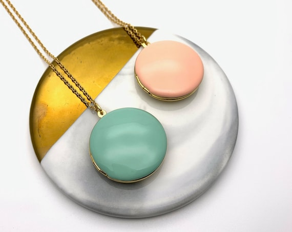 Large Round Photo Locket Color Enamel Necklace Long surgical steel chain 18k gold plated