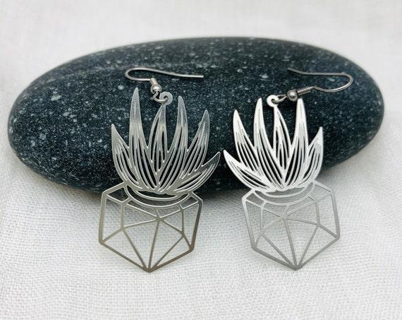 Plants Earrings Silver Steel