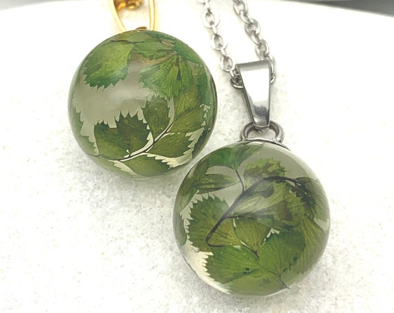 Small ball Necklace green leaves resin and silver or gold steel chain hypoallergenic