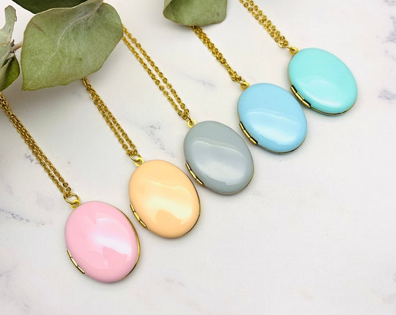 NEW - Oval Photo Locket Enamel Necklace, gold surgical steel, personalized initial