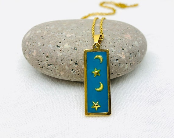 Moons & Stars Necklace, Blue and Gold Resin Rectangle Pendant gold steel