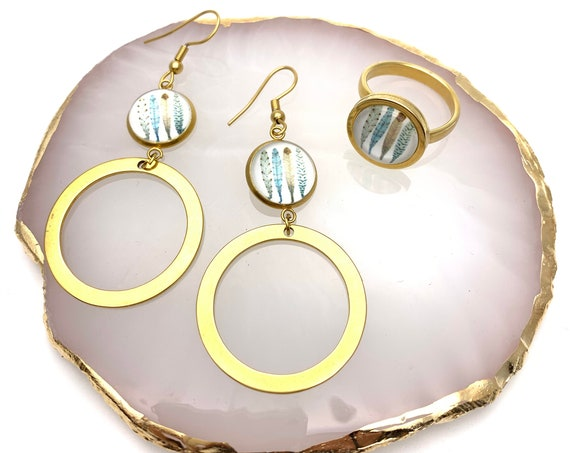 Gold Feathers Set Big Hoops Earrings & Ring