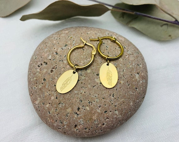 Feather Earrings Hoops 14k gold plated stainless steel