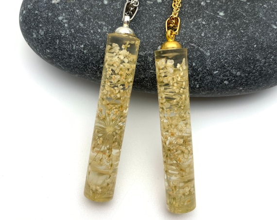 Cylinder Tube white flower clear resin gold or silver necklace, Pressed flower Queen Anne's Lace steel chain