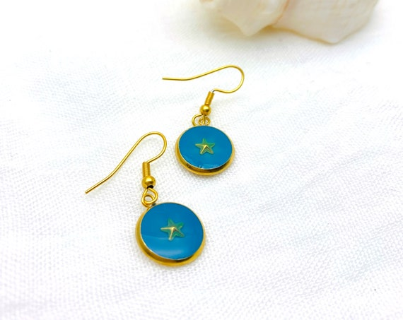 Star Earrings Gold Drop Resin Stainless Steel