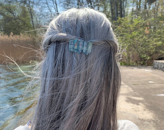 Crystal Quartz Clip, Wire Wrapped Barrette hair accessory