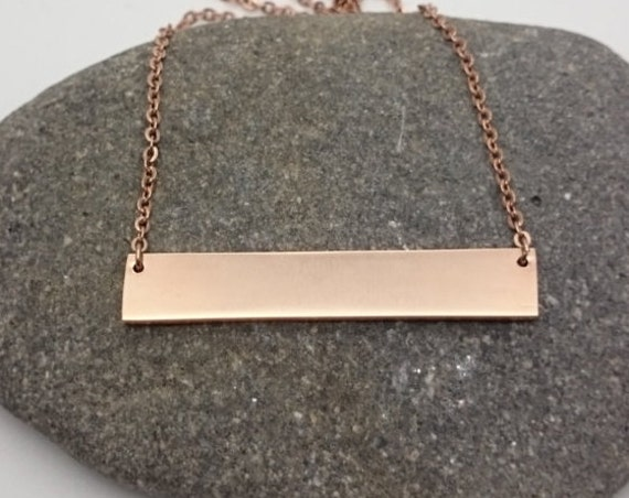 Rose Gold Bar Necklace//Rectangle pendant 18k rose gold plated on hypoallergenic stainless steel