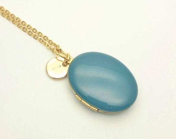 Personalized Teal Blue Enamel Oval Photo Locket Necklace with gold surgical steel chain