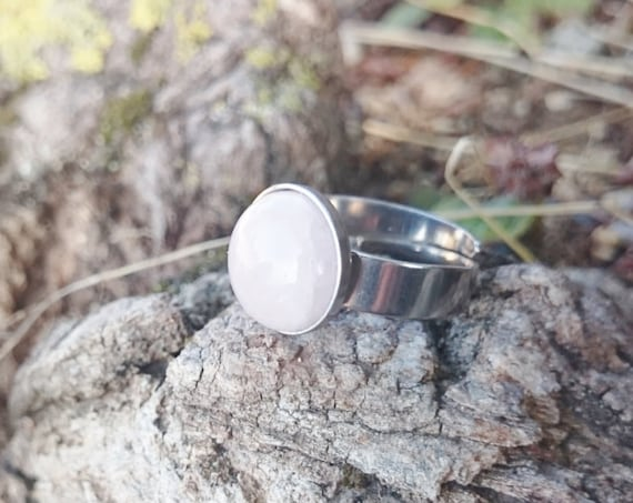 Rose quartz silver adjustable hypoallergenic ring//Rose quartz stainless steel ring//Round rose quartz cabochon 12 mm surgical steel ring